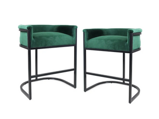 Modern Wide Bucket Upholstered Barstool  Set of 2  by Christopher Knight Home   Emerald  Retail  229 99