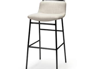 Set of 4   Mercana Kavalan 36  Cream Upholstered Seat Black Metal Base Stool  Retail  298 99 each
