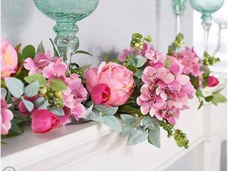 4  Hydrangea Peony and Tulip Floral Garland by Valerie