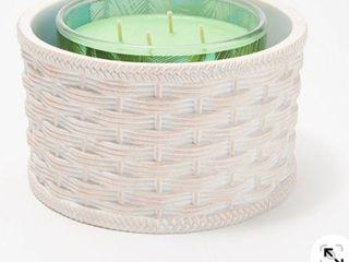 HomeWorx by Harry Slatkin Basketweave Decorative Candle Holder  Cream