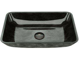 VIGO Rectangular Gray Onyx Glass Vessel Bathroom Sink