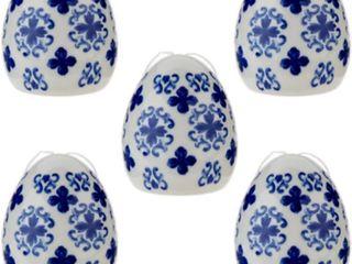 Set of 5 Illuminated Translucent Porcelain Eggs by Valerie Parr Hill BlUE NIB