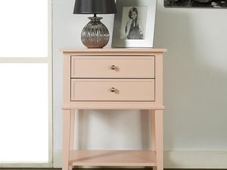 Ameriwood Home Franklin Accent Table with 2 Drawers  Pink