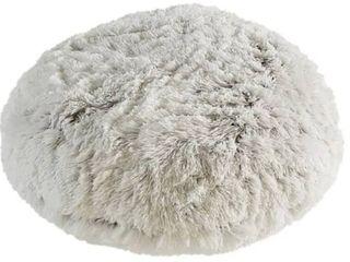 Polar Pouf   Round   White  Faux Fur Floor Pouf with Poly Fill