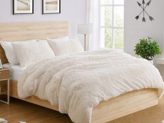 Sweet Jojo Designs White Boho Faux Fur 3pc Queen size Duvet Comforter Cover Bedding Set   Fuzzy Plush Shaggy Fluffy luxury Teen  Retail 102 99