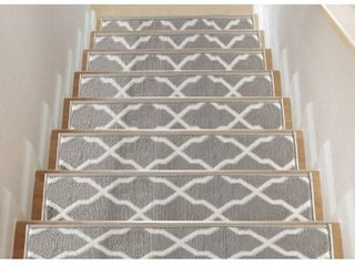 Trellis  Non Slip Stair Treads  Set of 13  with double sided tape   Gray   13