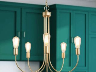W25 xH26  Modern Contemporary 5 lights Chandelier Gold Swag lighting Fixture   W25 xH26  Retail 197 99