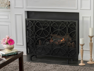 Valeno Single Panel Fireplace Screen by Christopher Knight Home   Black  Retail  136 07
