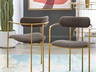 Simple living Retro Velvet Dining Arm Chair  Set of 2  Retail  205 29