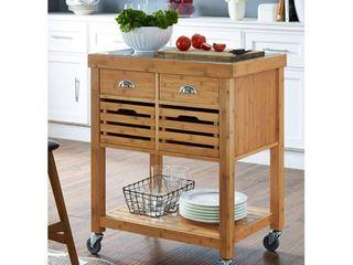 Boraam Kenta Bamboo Kitchen Cart   Stainless Steel Top