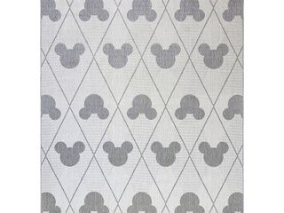9 x13  Mickey Mouse and Friends Argyle Outdoor Rug Gray