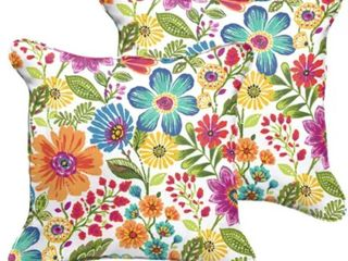 Galliford Multi Floral Indoor  Outdoor Square Corded Pillow Set   22 in h x 22 in d