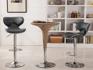Roundhill Masaccio Cushioned leatherette Upholstery Airlift Adjustable Swivel Barstool with Chrome Base  Set of 2  Multiple Colors Available