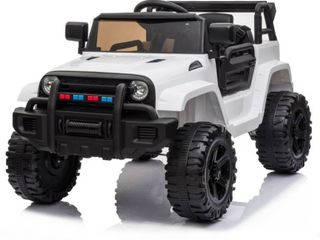 White  12V Electric Kids Ride On Car with Remote Control 3 Speeds  MP3 player  lED lights  Retail 168 49 does not power on could need new battery and a few screws are missing