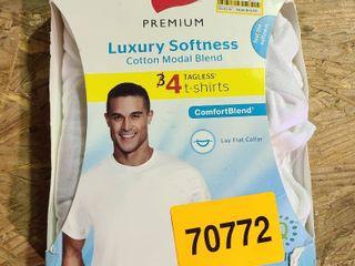 Men s Hanes Premium Cotton Modal Crew Tee Undershirt 3 Pk   White Small