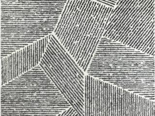 larsen Charcoal Grey 7 ft  x 9 ft  Modern Stripe Area Rug