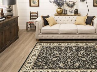 Mainstays Floral Border Traditional Brown Area Rug  5  x 7