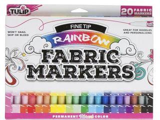 Tulip Rainbow Fine Tip Fabric Markers  20 Piece