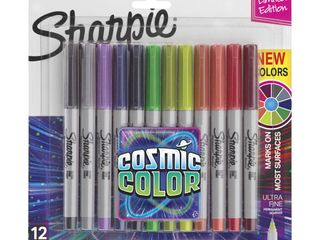 Sharpie Permanent Markers  Ultra Fine Point  Cosmic Colors  12 Count