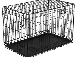 Vibrant life Folding Dog Crate  42  Double Door Training Kennel with Divider   Vibrant life Crate Mat  42
