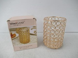 As Is  VINCIGANT Gold Crystal Pillar Candle