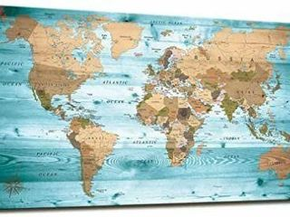 Wall Art Blue Map of The World Painting Ready to