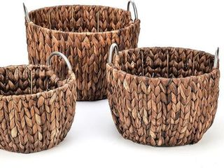 Set of 3 Round Hyacinth Baskets with Stainless
