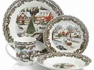 Gibson Home Christmas Toile 16 Piece Dinnerware