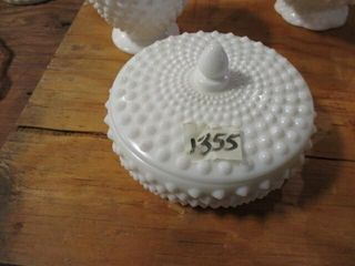 Fenton Milk Glass Dish w   lid