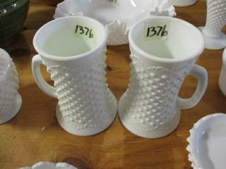 2  Fenton Milk Glass Mug