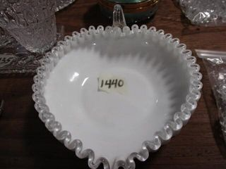Fenton Milk Glass Heart Finger Bowl