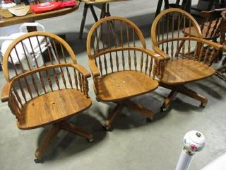 3  Oak Roller Kitchen Chairs  Need Cushions