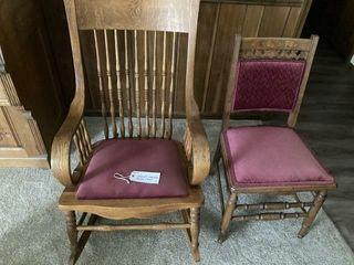 Velvet seated rocker and chair