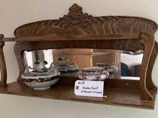 Oak Beveled Glass Mirrored Shelf