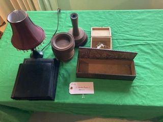 Wooden boxes  small lamp  coasters