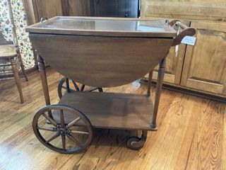 Serving Cart with Glass Tray