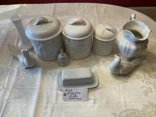 White canisters  Pitcher  Doves and Butter Dish