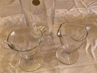 leaded Crystal Vase  Glass Sugar   Creamer