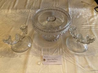 Cake plate  candle holders Glass