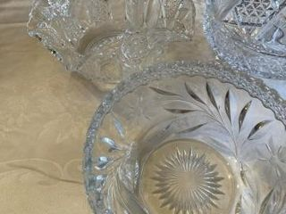 4  Glass pieces Basket  Bowl  candy dish  Compote