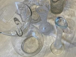 5  Glass pieces Pitcher bowl  creamer 2 Bud vases