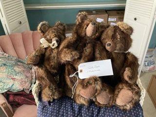 3 Teddy Bears Minks wade on wicker bench  1 Bear
