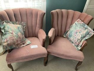 2 Velvet covered Chairs w pillows