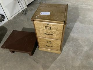 Small wooden file cabinet and table