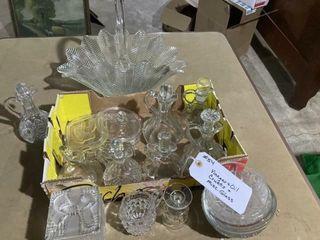 Vinegar oil cruets and misc glass