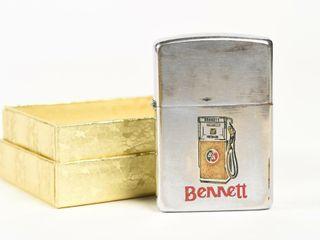 RARE BENNETT B A GREEN RED  GAS PUMP lIGHTER  BOX