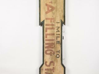 1 MIlE TO B A FIllING STATION S S WOOD ARROW SIGN