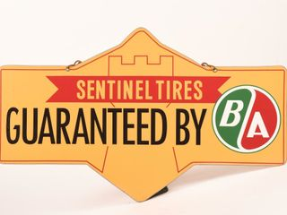 1960 B A  GREEN RED  SENTINEl TIRES D S SIGN