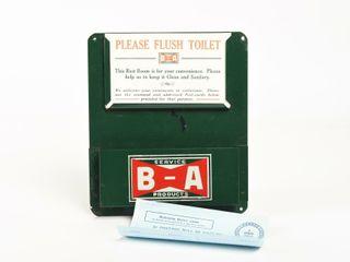 1940 S B A  BOWTIE  PlEASE FlUSH TOIlET METAl SIGN