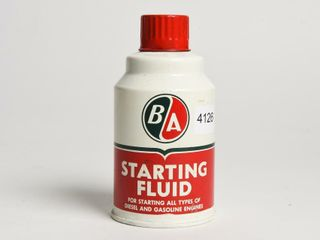 B A GREEN RED  STARTING FlUID 11 OZS CONE TOP CAN